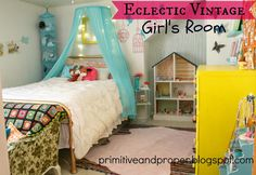 vintage eclectic girls room- colorful and fun, full of DIY