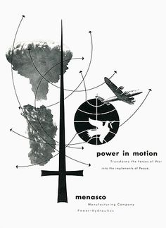 "Ad by Alving Lusting, 1942, Menasco ""Power in Motion""."