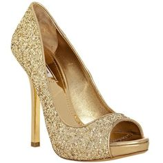 Miu Miu Gold Glitter Peep Toe Pumps, I would fall off of them, but would love wearing them anyway!
