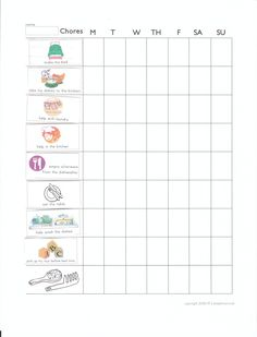 Chore chart for 3-5 year-olds