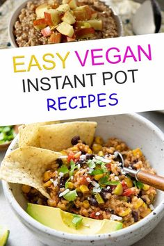 If you are looking for easy vegan instant pot recipes, these healthy ideas are perfect for dessert, dinner, lunch, and breakfast. You can make soup, chili, yogurt, curry, and mac and cheese… More Easy Vegan Dinner, Vegan Dinner Recipes, Vegan Snacks, Vegan Recipes Easy, Veggie Recipes, Vegetarian Recipes, Vegan Food, Lentil Chili Recipe, Cauliflower Dishes