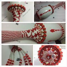 Santeria, Shango, Amazing Red and White Beaded Maraca by OshaDesigns, Yoruba, Iyawo - $60.00