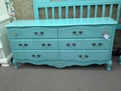 $289 - This turquoise 6 drawer French style dresser has been painted and lightly distressed with to bling knobs. Approximately 65 inches long by 17 inches deep by 31 inches tall.  ***** In Booth H12 at Main Street Antique Mall 7260 E Main St (east of Power RD on MAIN STREET) Mesa Az 85207 **** Open 7 days a week 10:00AM-5:30PM **** Call for more information 480 924 1122 **** We Accept cash, debit, VISA, Mastercard, Discover or American Express