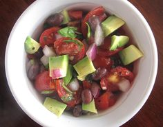 """Recipe from Ina Garten; she calls it """"Guacamole Salad,"""" but I think of it as avocado salad. Quick, easy, great to take to a party! #sugar-free"""