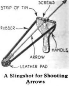 A 1922 diagram showing the construction of an arrow-firing slingshot
