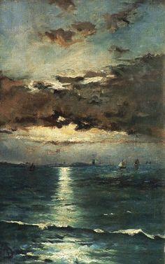 Alfred Stevens [Belgian Painter, 1823-1906] - Seascape, c. 1890