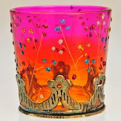 Very pretty glass holder for tea lights or small candles.It has a graduated stain from orange at the base to pink at the top with delicate painted flowers. Fairy Lights, Tea Lights, Glass Tea Light Holders, Small Candles, Bright Spring, Red Purple, Color Inspiration, Orange Color, Favorite Color