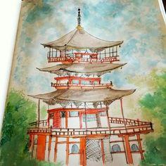 Watercolor by Thailita Araújo  #watercolor #sketch #urbansketch #architecture