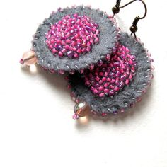 Handmade grey felt earrings with pink glass beads by VesztlFanni, $18.00