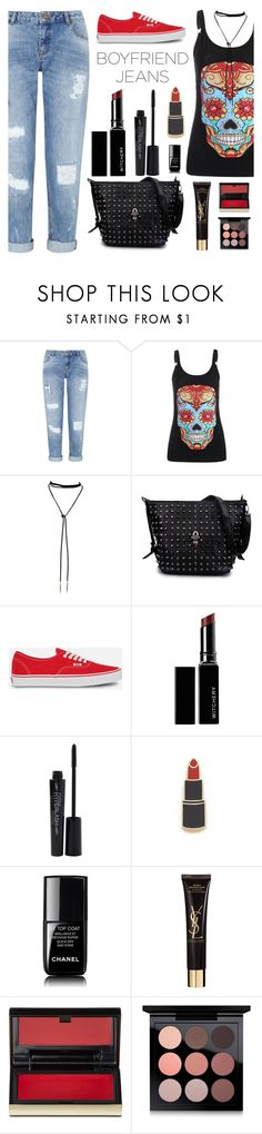 """Borrowed from the Boys: Boyfriend Jeans"" by dora04 ❤ liked on Polyvore featuring Miss Selfridge, Vans, Witchery, Smashbox, Georgia Perry, Chanel, Yves Saint Laurent, Kevyn Aucoin, MAC Cosmetics and boyfriendjeans"