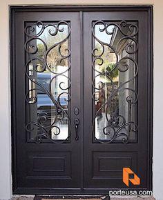 D'Vine - Double Door Double Front Entry Doors, Iron Front Door, House Front Door, Glass Front Door, Exterior Doors With Sidelights, Traditional Front Doors, Balcony Railing Design, Iron Gate Design, Wrought Iron Doors