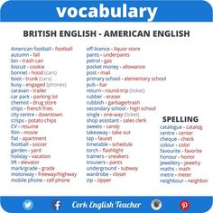 Helpful list of British English and American English vocabulary differences. English Tips, English Idioms, English Writing, English Lessons, English Vocabulary, English Grammar, English Spelling, English Language Learning, Teaching English