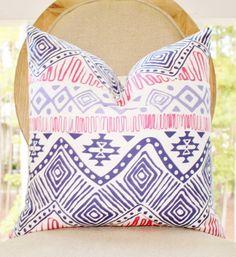 Decorative Pruple Pillow - Modern Geometric Pink Purple Pillow Cover - Aztek Throw Pillow - Designer Pillow - Raspberry Pink