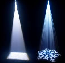 first image is a plain white spot light and the one next to it is a a gobo pattern