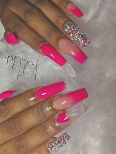 """Awesome """"top nail art designs"""" information is readily available on our internet site. Colorful Nail Designs, Acrylic Nail Designs, Nagel Bling, Long Acrylic Nails, Pink Acrylics, Nail Art, Dope Nails, Boxing Day, Birthday Nails"""