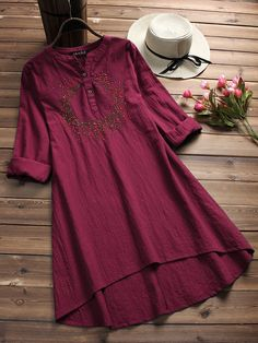 Embroidered V-neck Long tops Women Blouses Cheap - NewChic Mobile Frock Fashion, Fashion Dresses, Fashion Clothes, Fashion Fashion, Fashion Stores, Clothes Women, Fashion Watches, Vintage Fashion, Fashion Trends