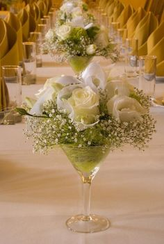 Large martini glass centrepiece