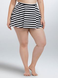 Plus Size Striped Skater Skirt Swim Bottom, BLACK-WHITE STRIPE