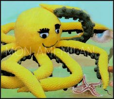 """Knitting Pattern • OCTOPUS TOY • Sea Life • Oceanic Soft Cuddly Toy • 7"""" Wide DK"""