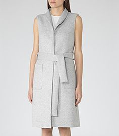 Selvi Dove Grey Melange Sleeveless Coat - REISS