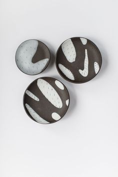Image of Inlay Tripod Offering Plates - Dark Brown