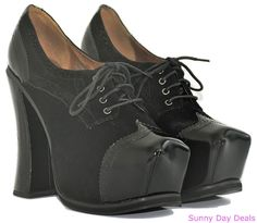 3f62c17ac6da Jeffrey Campbell Womens Ellis 2 Shoes Heels Platform Pump Leather Black  Oxford 9