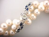 This Amazing SPIRAL was Designed from Client's own Sapphires & Diamonds - then Custom made in White Gold to Curve Across this Twist of Freshwater Pearls! Bangles, Beaded Bracelets, Bespoke Jewellery, Pendant Design, Bespoke Design, Sapphire Diamond, Spiral, Jewelry Collection, Diamonds