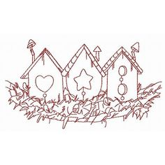 Bird Houses Redwork | Machine Embroidery Designs