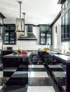 black white kitchen subway tile backsplash island pendant light checkered floor