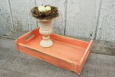 Upcycled Coral Serving Tray --  Color of the Month on LoveNestDesign blog-- June is Coral