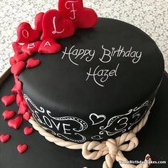 The Name Neha Is Generated On Hearts Chocolate Birthday Cake For
