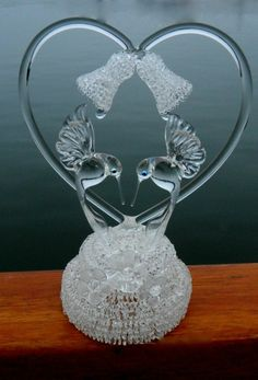 Hummingbird Blown Glass Crystal, Wedding Bells and Flowers Wedding Cake Topper