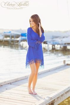 Blue dress on a dock || Clara Bella Photography