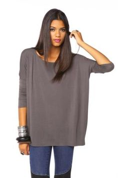 Bamboo Scoop Top - Slate in  Clothes Tops at Nasty Gal  If you haven't tried Bamboo clothes, you really must!