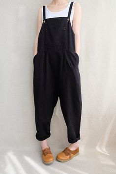 Women Leisure Cotton Jumpsuits Comfortable Dungarees Wide Leg Pants Casual Overalls With Pockets Indie Outfits, Cute Casual Outfits, Fashion Outfits, Gothic Fashion, Girl Fashion, Jumpsuit Outfit, Casual Jumpsuit, Casual Pants, Salopette Jeans