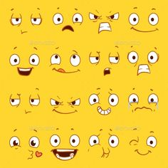 Buy Cartoon Faces with Different Expressions by MicrovOne on GraphicRiver. Cartoon faces with different expressions vector set. Sad and happy emotions faces, angry and funny smile emotion illu. Cartoon Faces Expressions, Funny Cartoon Faces, Cartoon Eyes, Drawing Expressions, Cartoon Drawings, Eye Drawings, Angry Cartoon Face, Cartoon Mouths, Smile Drawing
