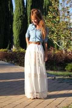 White maxi skirt & denim shirt