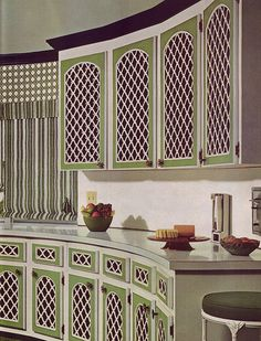 You Feel Like a Pharaoh Green Lattice Kitchen - Good Decorating and Home Improvement Published in Lattice Kitchen - Good Decorating and Home Improvement Published in Retro Room, Vintage Room, Vintage Kitchen, Vintage Decor, 1970s Kitchen, Vintage Houses, Vintage Style, Retro Vintage, Kitchen Cabinet Design