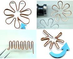 Fleur en fil aluminium / Linda Jones - DIY Wire Flower Tutorial - Jewelry From… Wire Flowers, Paper Flowers Diy, Beaded Flowers, Wire Wrapped Jewelry, Wire Jewelry, Handmade Jewelry, Jewelry Holder, Jewlery, Wire Crafts
