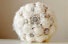 Fabric Flower Bouquet,  Vintage Style Wedding Bouquet, Handmade Fabric Bridal Bouquet, Brooch  Wedding Bouquet on Etsy, $280.00