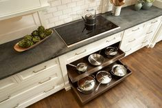Pot and Pan Drawers Below Cooktop, Transitional, Kitchen