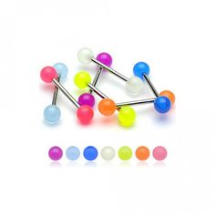 Lot of 6 Pieces Glow In The Dark Barbell Tongue Rings Length, Ball Size Body Piercing Jewelry Assorted Color No Duplicates Piercing Ring, Body Piercings, Tongue Piercings, Tongue Bars, Uv Black Light, Body Bars, Nipple Rings, Tongue Rings, Spoon Jewelry