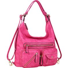 Dasein Soft Faux Leather Shoulder Bag and Backpack - Fuchsia -... ($37) ❤ liked on Polyvore featuring bags, backpacks, pink, pink faux leather backpack, mini rucksack, mini backpack, faux leather backpack and print backpacks