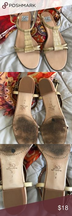 """JOAN AND DAVID ALL LEATHER GOLD SANDALS SIZE 9M Gorgeous snake print in muted gold, these sandals are stunning and super soft with leather soles footbed and straps. They have a 1"""" wood heel with hard rubber bottom. Worn only a few times JOAN AND DAVID Shoes Sandals"""