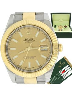 Rolex DateJust II 116333 Champagne Steel Dial 18k Two Tone 41mm Watch Box Papers