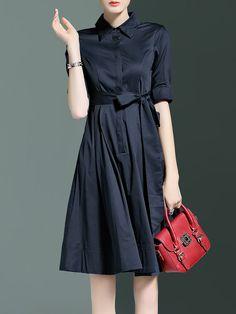 Shop Midi Dresses - A-line Cotton Simple Plain Half Sleeve Shirt Dress online. Discover unique designers fashion at StyleWe.com.
