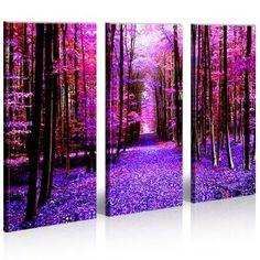 Run 3 Bilder Bäume Wald Natur Surreal Pop Art * Bilder auf Leinwand fertig gerahmt - exklusiver Foto Kunstdruck - modernes XXL Bild Poster für Wohnzimmer Schlafzimmer Büro - Leinwandbild Made in Germany: Amazon.de: Küche & Haushalt