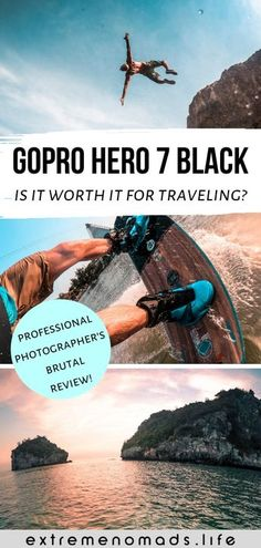 Is the GoPro Hero 7 Black worth it for traveling? Read our brutally honest review after 5 months of pushing the GoPro to its limits with surfing, kiteboarding, motorbiking, and more. See a comparison of the different GoPro models, GoPro tips (from a professional photographer!) for maximizing the power of the GoPro 7, as well as video footage and photos taken with the GoPro Hero 7 Black. #GoPro #Hero7Black #action #adventure #travel #photography #photographytips