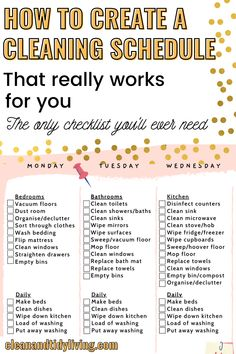 Household Cleaning Schedule, Cleaning Checklist Printable, Deep Cleaning Checklist, House Cleaning Tips, Diy Cleaning Products, Cleaning Hacks, Cleaning Check Lists, House Cleaning Schedules, Chore List Printable