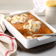 Mallow-Topped Sweet Potatoes Recipe -My grandmother always served this sweet potato casserole at Thanksgiving. The puffy marshmallow topping gives the dish a festive look, and spices enhance the sweet potato flavor. Sweet Potato Casserole, Sweet Potato Recipes, Thanksgiving Recipes, Holiday Recipes, Thanksgiving Feast, Holiday Meals, Quinoa, Vegetarian Recipes, Cooking Recipes